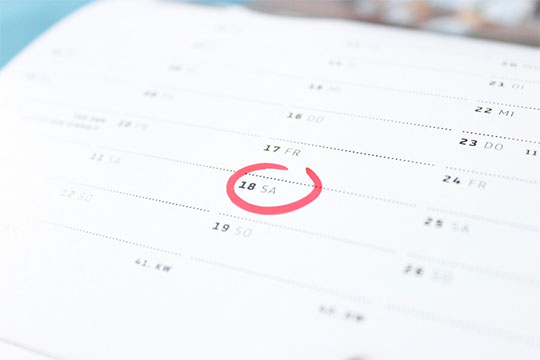 Calendar with a date circled in red